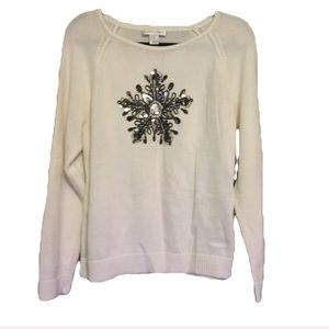 Christopher & Banks White Snowflake Sweater